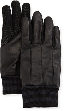 Neiman Marcus Men's Leather & Fabric Tech Gloves