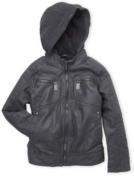 Urban Republic Boys 4-7) Hooded Faux Leather Moto Jacket