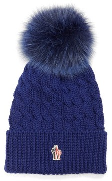 Moncler Women's Genuine Fox Fur Pom Ribbed Wool Beanie - Blue