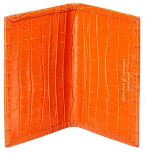 Aspinal of London Double Fold Credit Card Case In Deep Shine Amber Small Croc