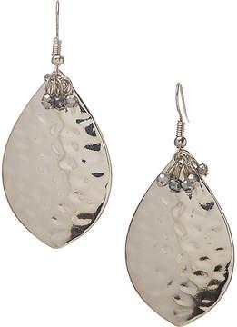 Carole Silvertone Hammered Teardrop Earrings