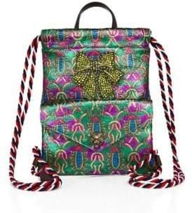 Gucci Metallic Jacquard Drawstring Mini Backpack - GREEN-MULTI - STYLE