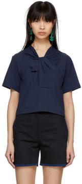 Carven Blue Twist Neckline T-Shirt