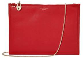 Aspinal of London Soho Clutch In Scarlet Saffiano