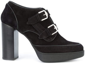 Tod's double buckle platform ankle boots
