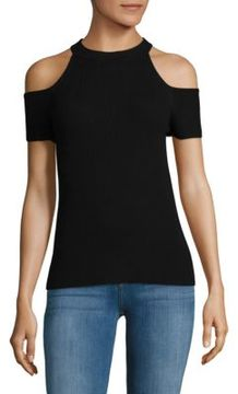Saks Fifth Avenue BLACK Rib-Knit Cold Shoulder Top