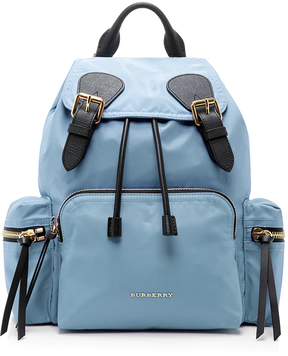Burberry Medium Leather-Trimmed Gabardine Backpack