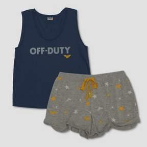 Junk Food Clothing Women's Wonder Woman Off Duty Tank and Shorts Pajama Set - Blue