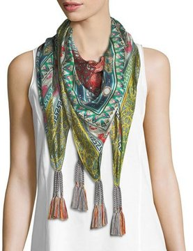 Johnny Was Annabelle Floral-Print Silk Scarf