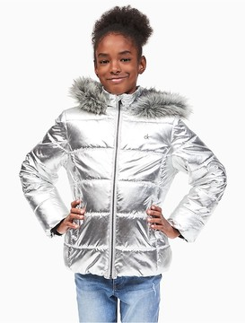 Calvin Klein Jeans Girls Metallic Puffer Jacket