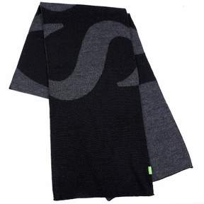 HUGO BOSS Men's Knitties Black Winter Scarf