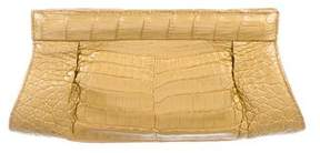 Nancy Gonzalez Pleated Crocodile Clutch