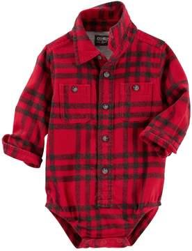 Osh Kosh Baby Boy Red & Black Plaid Flannel Bodysuit