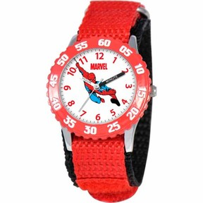Spiderman Marvel Boys' Stainless Steel Watch, Red Strap