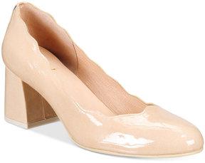 French Sole Wave Block-Heel Pumps Women's Shoes