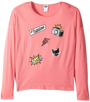 Karl Lagerfeld Long Sleeve Jersey Tee with Embossed/Patch Graphic Girl's T Shirt