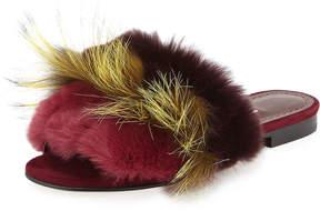 Manolo Blahnik Pelosus Fur Slide Flat Sandal