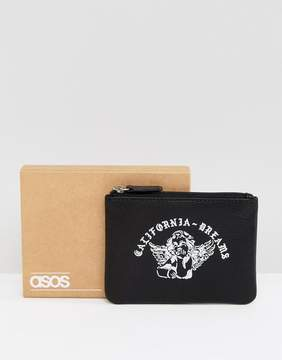 Asos Leather Zip Wallet With Printed Cherub Design