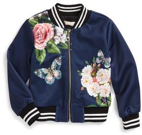 Truly Me Toddler Girl's Embellished Floral Bomber Jacket
