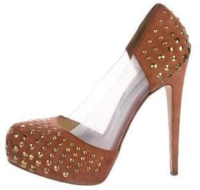 Brian Atwood Suede Studded Pumps