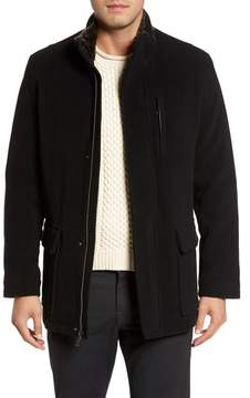 Cole Haan Men's Faux Fur Collar Wool Blend Parka