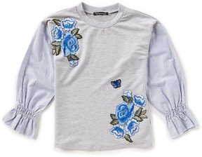 Xtraordinary Big Girls 7-16 Floral Embroidery Striped Sleeve Top