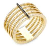 Ef Collection Black Diamond and 14K Yellow Gold Bar Spiral Ring, 0.32 TCW
