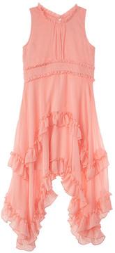 Nanette Lepore Crinkled Chiffon Peach Dress