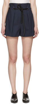 3.1 Phillip Lim Navy Origami Pleated Shorts