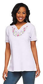 Denim & Co. Short Sleeve Embroidered GauzePeasant Top