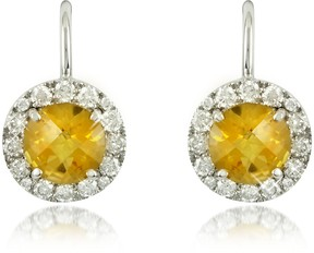 Forzieri 0,43 ct Diamond Pave 18K White Gold Earrings w/Citrine Quartz