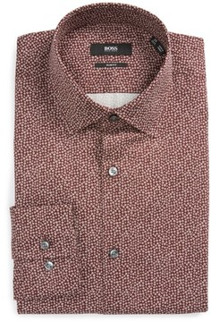 BOSS Men's Jenno Slim Fit Print Dress Shirt