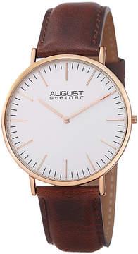 August Steiner Mens Brown Strap Watch-As-8084xrgbr