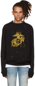 Amiri Black Marine Eagle Sweatshirt