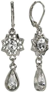 1928 Silver Tone Crystal Flower Drop Earrings