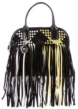 Gianni Versace Snakeskin-Trimmed Fringe Day Bag