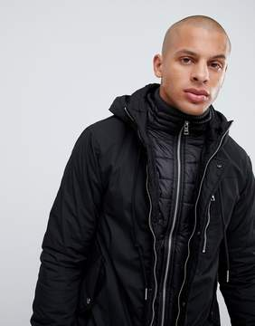 Pull&Bear Parka Jacket In Black