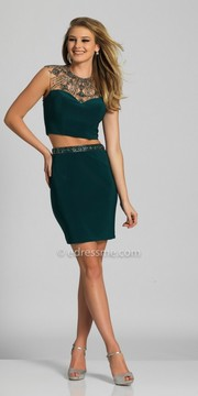 Dave and Johnny Two Piece Illusion Embellished Fitted Cocktail Dress