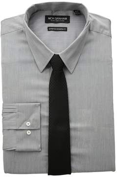 Nick Graham Chambray Stretch Dress Shirt with Houndstooth Tie Men's Long Sleeve Button Up