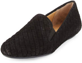 Neiman Marcus Woven Suede Stretch Loafer, Black