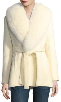Fleurette Textured Knit Belted Wrap Coat w/ Fox Fur Trim