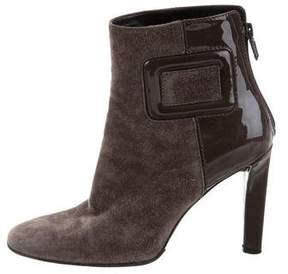 Roger Vivier Suede Square-Toe Ankle Boots