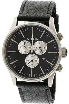 Nixon Men's Sentry Chrono Leather A405000 Silver Japanese Quartz Dress Watch