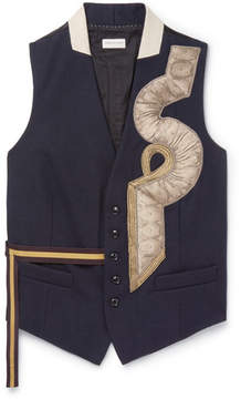 Dries Van Noten Blue Appliquéd Wool Waistcoat