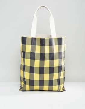 Asos DESIGN Oversized Check Shopper Bag