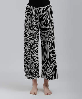 Lily White & Black Abstract Palazzo Crop Pants - Women & Plus