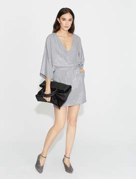 Halston Lurex Printed Kimono Dress