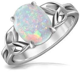 Celtic Bling Jewelry Triquetra Knot Oval Synthetic White Opal Ring 925 Sterling.