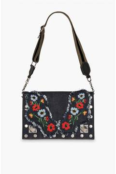 Sonia Rykiel | Le Niki Embroidered Denim Flap Bag