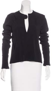 David Koma Long Sleeve Embellished Top